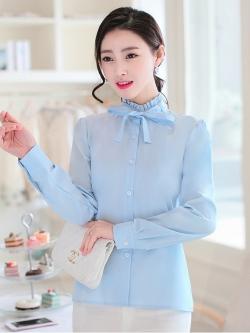 เสื้อคอป่านระบายผูกโบว์ลุคหวาน สีฟ้า