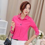 เสื้อเชิ้ตสีพื้นตัวโปรด ปกประดับพลอยเป็นรูปดอกไม้ สีชมพู Size S