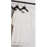 เสื้อยืดหน้าสั้นหลังยาว สีพื้น สีขาว