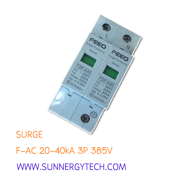 Surge แบบ SPD AC ขนาด 20-40kA 385V 2P (FEO)