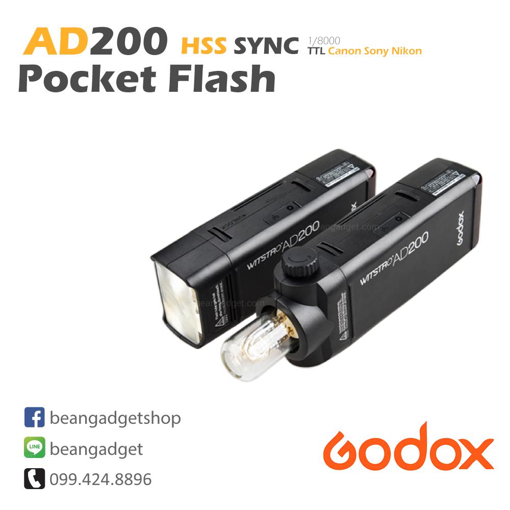 ไฟแฟลช ไฟสตูดิโอ Godox AD200 HSS Sync Wireless Pocket Double Head Flash Portable TTL For Canon Nikon Sony