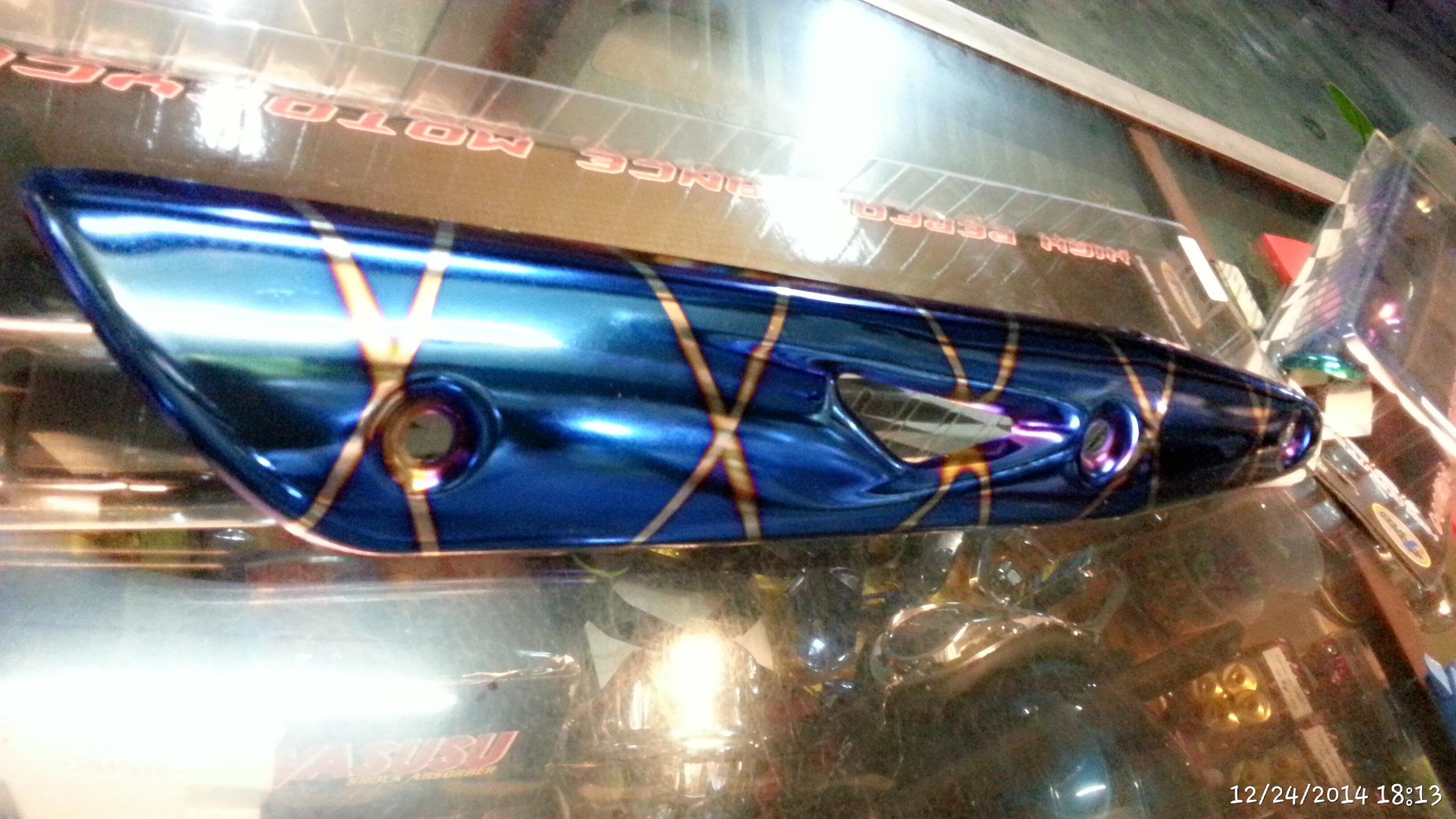 กันร้อนท่อ wave 125 i สีน้ำเงินลาย รุ่นหนา