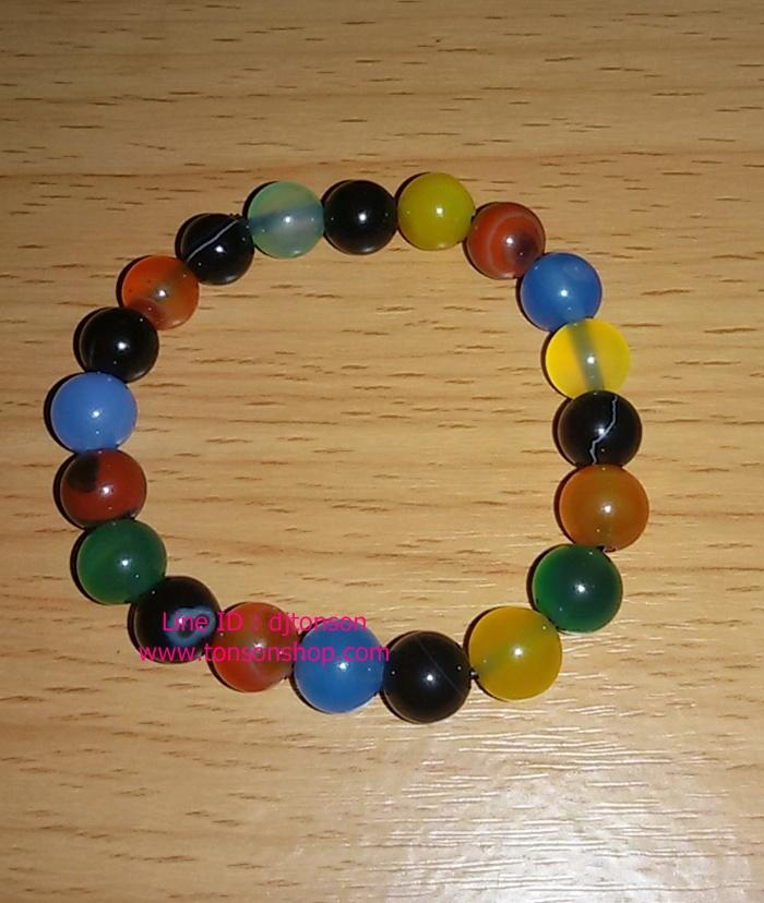 สร้อยข้อมือ หินมงคลโมรา 5 สี สร้างภูมิคุ้มกัน สร้างสมรรถภาพทางเพศ (ความรัก)
