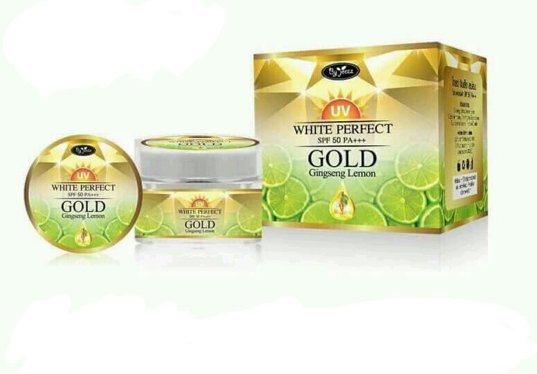 Gold ginseng lemon uv white perfect spf 50 pa + + By Jeezz ครีมกันแดดโสมมะนาวทองคำ ของแท้ โปรฯ สุดเจ๋ง 4 ท่านเท่านั้น