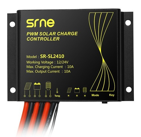 ตัวควบคุมการชาร์จแบตเตอรี่ แบบ PWM ขนาด 10A 12/24V IP68 SR-SL2410