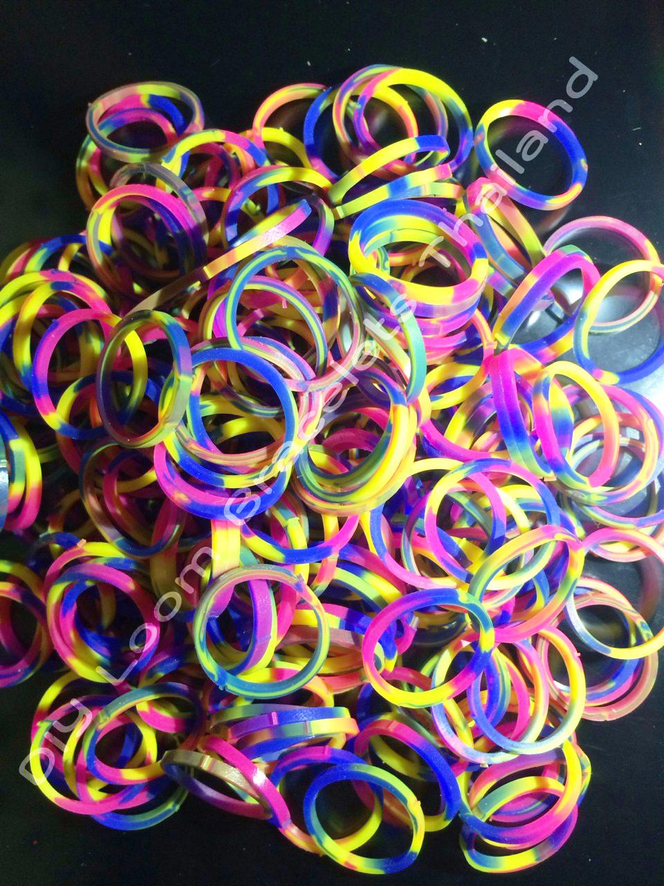 ยางถัก 100% ซิลิโคน Tie Die 3 Colors Loom Bands 600 เส้น ( T3C)