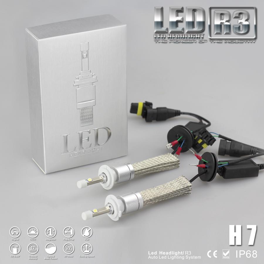 ไฟหน้า LED ขั้ว H7 Cree 2 ดวง 40W R3 No Fan