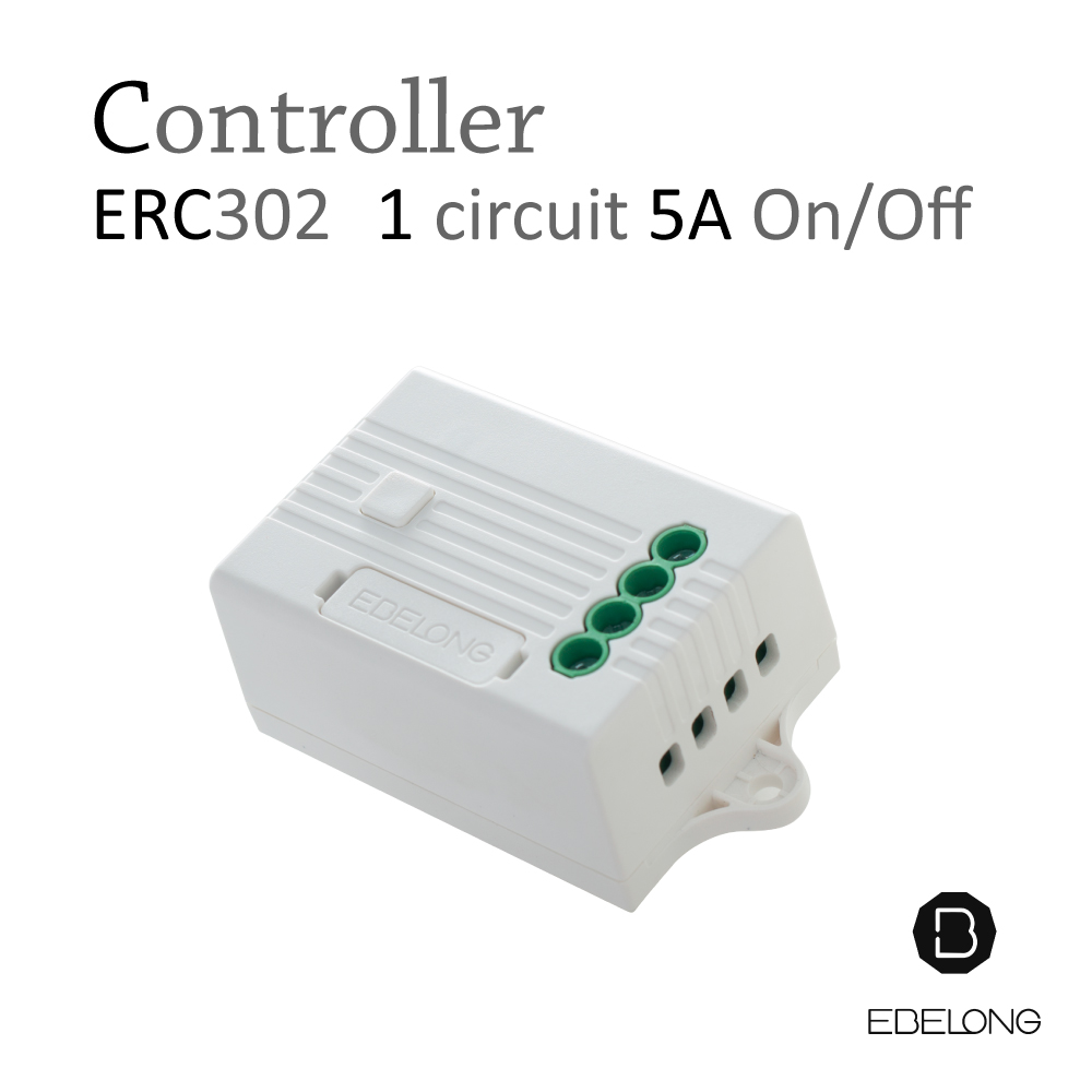 สวิทช์ไร้สาย ไม่ใช้ถ่าน ไม่ต้องเดินสาย ไม่ต้องกรีดผนัง EBELONG controller 1 circuit ERC302 5A On/Off