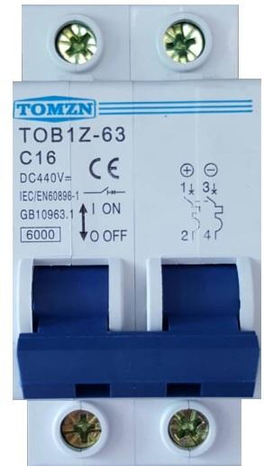 เบรกเกอร์ดีซีสำหรับโซล่าเซลล์ (DC Breaker for Solar Cell System) พิกัดกระแส 16A/440V