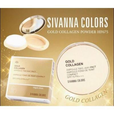 Sivanna Colors Gold Collagen Powder Ampoule Two way Pact spf 15 PA+++ HF675 แป้งทองคำคอลลาเจนผสมรองพื้น ของแท้ราคาถูก