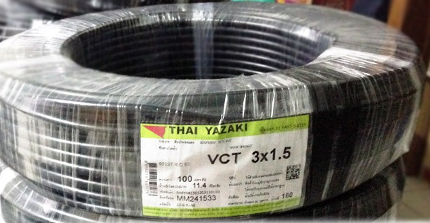 Cable & Connector (สายไฟ) แบบ VCT 3C x 1.5mm2.