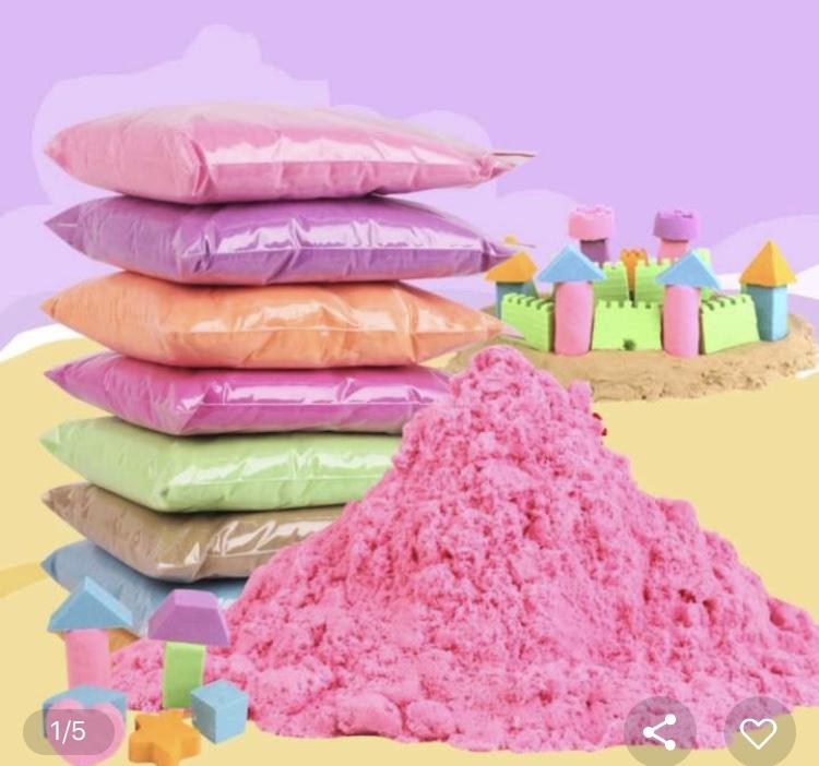 ทรายวิทยาศาสตร์ สีธรรมชาติ Soft sand ทรายนิ่ม (น้ำหนัก 1 กิโลกรัม)