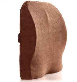 เบาะรองหลังเพื่อสุขภาพ (BA-005) พร้อมส่ง เบาะรองหลัง เมมโมรี่โฟม ปลอกผ้ากำมะหยี่ รองรับสะโพกและเอว (Dual Lumbar and Waist Support Cushion)