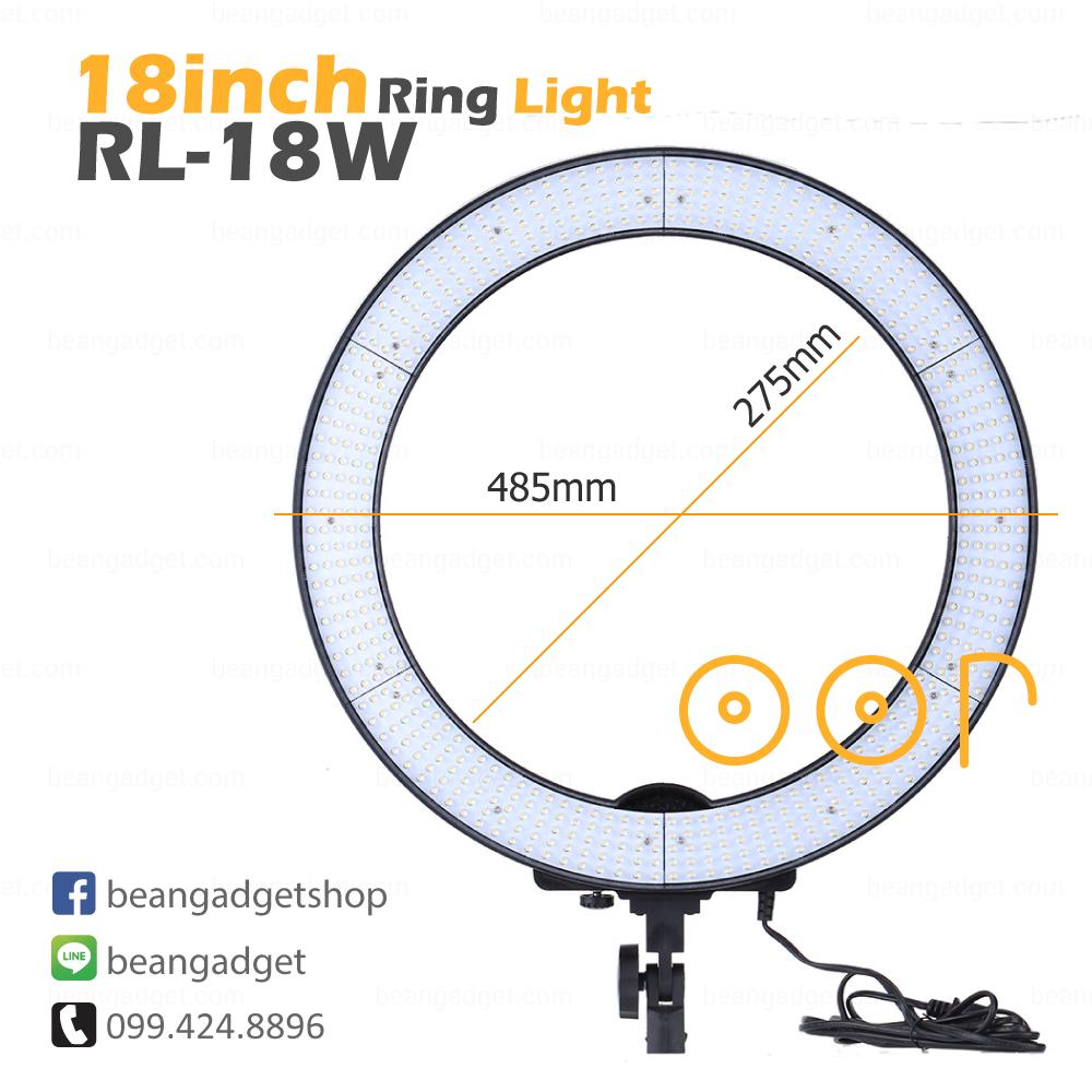 ไฟริงไล้ท์ 18 นิ้ว ไฟต่อเนื่อง ไฟแต่งหน้า ไฟถ่ายรูป RL-18W 48W LED Ring Light 5500K สีขาวล้วน