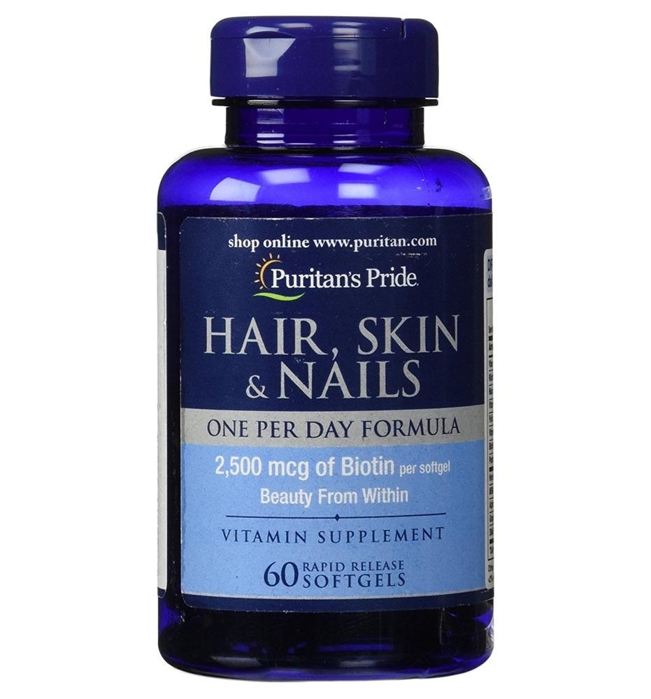 ((ตัวนี้ สูตรดีมาก ทานแค่วันละเม็ด บำรุงผิว ผม เล็บ ใน 1 เดียว)) Puritan Hair, Skin & Nails One Per Day Formula / 60 Softgels