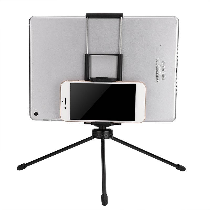 ตัวหนีบมือถือ คลิปจับมือถือ Clip Hoder 2 in 1 มือถือ แท็บเล็ต ipad tablet สีเงิน Silver