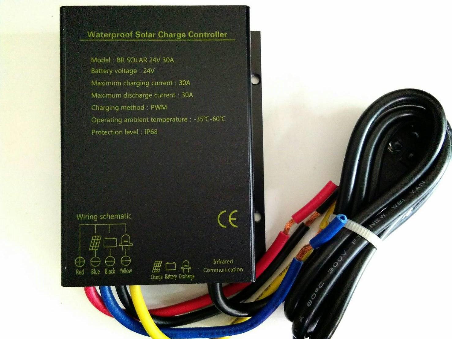 ตัวควบคุมการชาร์จแบตเตอรี่ แบบ PWM ขนาด 30A 24V IP68 (ฺBR Solar)