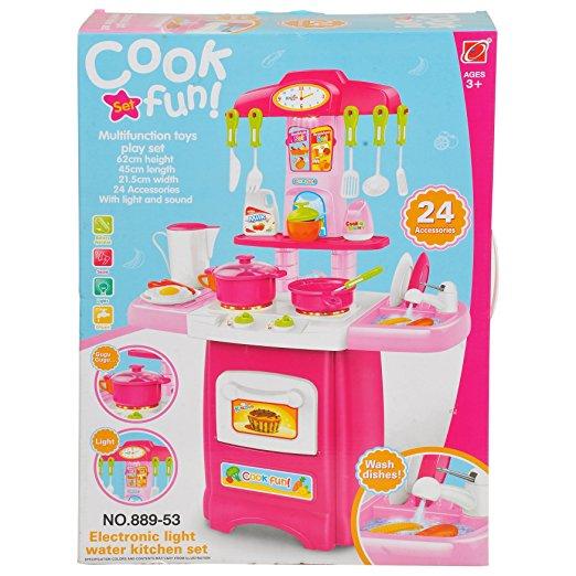 ชุดโต๊ะครัว มีเตาอบ มีไฟมีเสียง สีชมพู พร้อมอุปกรณ์ทำครัว. 24. ชิ้น