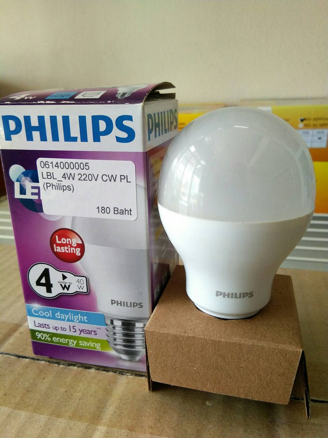 หลอดไฟ LED E27 Bulb ขนาด 4W 220V Cool White PL (Philips)