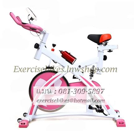 จักรยานออกกําลังกาย ระบบสายพาน Spin Bike แบบมีโช้ค รุ่น 880 สีชมพูหวาน น่ารักมากๆ สวยทนทาน รับประกัน 1 ปี