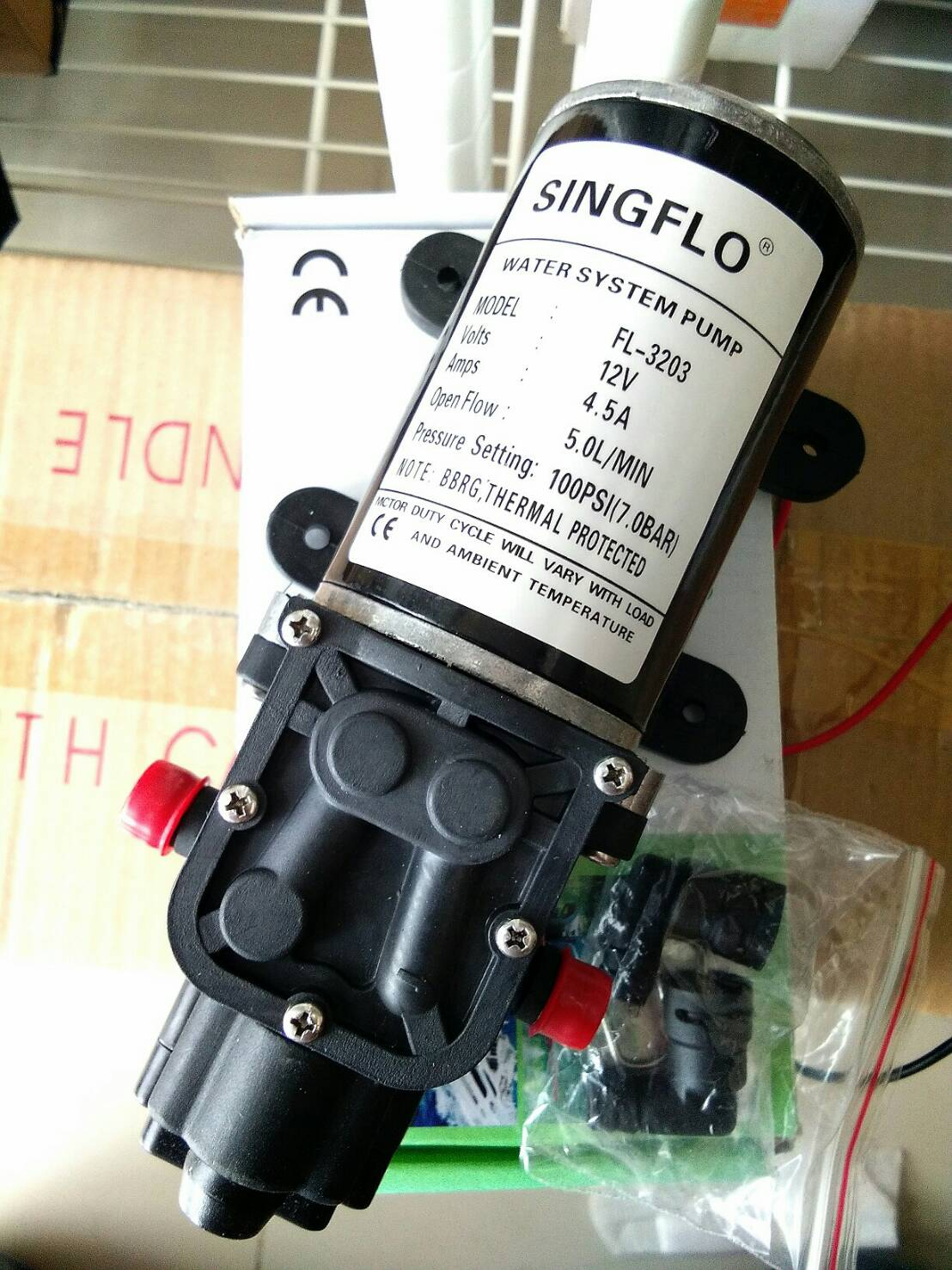 โซล่าปั๊ม ชนิดไดอะแฟรม (Diaphragm) ขนาด 5LPM 12VDC 4.5A 100PSI