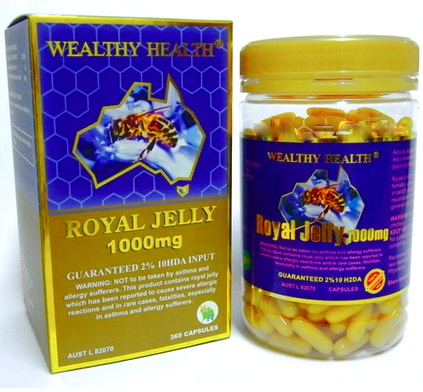 Wealthy Health Royal Jelly 1000 mg (6% 10-HDA) ขนาด 365 แคปซูล บำรุงร่างกาย เพิ่มภูมิต้านทาน ผิวสวย ใส