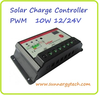 ตัวควบคุมการชาร์จแบตเตอรี่ แบบ PWM ขนาด 10A 12/24V with LED display (B)