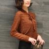 เสื้อปั้มนูนลูกไม้ปกผูกโบว์ สีน้ำตาล(Brown)