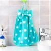Cute pattern velvet hand towel : ผ้าเช็ดมือแบบแขวน เนื้อผ้ากำมะหยี่ สีฟ้าน้ำทะเลลายจุด