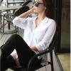 เสื้อเชิ้ตชีฟองแหวกข้างตัว U สีขาว(White)