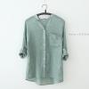 เสื้อเชิ้ตผ้าฝ้ายลินินรุ่น 2 สีเขียว(Green)