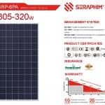 แผงโซล่าเซลล์โพลี Seraphim 310W เกรดพรีเมียม Tier 1
