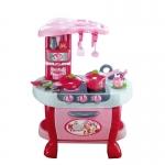 ชุดโต๊ะครัว สีชมพู แบบใหม่พร้อม ชุดเครื่องครัวครบครัน