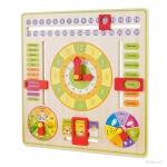 ชุดเรียนรู้ของเล่นไม้ สอนเรื่องเวลา Multifunctional Learning Clock ชุดของเล่นปฏิทินนาฬิกาไม้