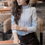 เสื้อเชิ้ตคอจีน2 แต่งระบายฟรุ๊งฟริ๊ง สีฟ้า(Blue)