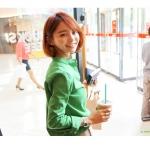 เสื้อเชิ้ตผ้าฝ้าย คอจีน imvely made สีเขียว(Green)