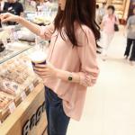 เสื้อเชิ้ตชีฟองน่ารัก ไหล่พอง จั้มแขน สีชมพูอ่อน(Pink)