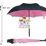ร่มหุบกลับด้าน 2 ชั้น ร่มกลับด้าน ร่มหน้าฝน invert umbrella สามารถใช้ได้ทุกฤดูกาล ขาด 24 นิ้ว -(สีชมพู/ดำ)