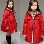 SWALLOW SPEAK เสื้อโค้ทสีแดงมีฮุู้ดบุผ้าสก็อต ขนาด 100 /110/120/130