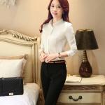 เสื้อเชิ้ตสีพื้นทรงคอจีนพับ แขนพอง สีขาว(White)