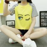 เสื้อยืดสั้น ขนตาวิ๊งๆ สีเหลือง