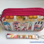 กระเป๋าถือ+สายข้อมือ Chalita wu สีขาว-ชมพู ลายแฟชั่น