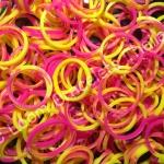 ยางถัก 100% ซิลิโคน loom band Tie Die ชมพู/เหลืองส้ม ( T2C) 600 เส้น