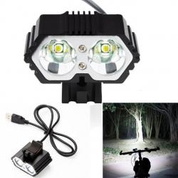 ไฟจักรยาน ไฟท้าย ไฟหน้าจักรยาน LED OOP CREE XML-T6 X2 USB Waterproof สว่าง 6000 Lumens S5 - Black สีดำ