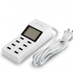 ที่ชาร์จไฟ 8 USB YC-CDA6 พร้อมจอ LCD Portable 8 Ports USB Charger LCD Display