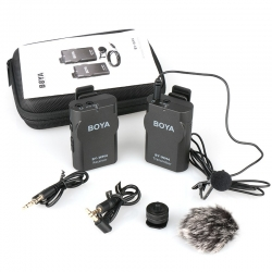 BOYA BY-WM4 Wireless Lavalier Lapel ไมโครโฟน iPhone Samsung Canon Nikon DSLR เหมาะสำหรับ Live สด