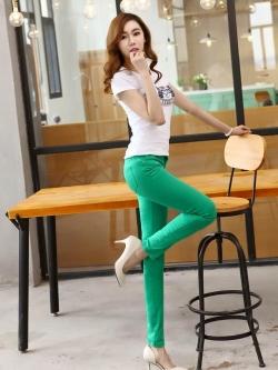 กางเกงสกินนี่ผ้ายีนส์ ฟอกสี สีที่ 9