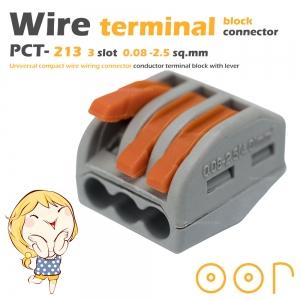 ขั้วต่อสายไฟ เทอมินอลต่อสายไฟ ขั้วต่อสายคอนโทรล ลูกเต๋าเชื่อมต่อสายไฟ 3 ช่อง OOP 0.08 -2.5 sq.mm PCT-213 10 ชิ้น Wire Terminal Block Connector