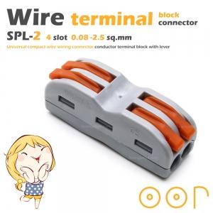 ขั้วต่อสายไฟ เทอมินอลต่อสายไฟ ขั้วต่อสายคอนโทรล ลูกเต๋าเชื่อมต่อสายไฟ 4 ช่อง OOP SPL-2 PCT-212 0.08 -2.5 sq.mm 1 ชิ้น Wire Terminal Block Connector