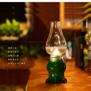 ตะเกียงโคมไฟแอลอีดี Retro Blowing Control LED USB - Green สีเขียว